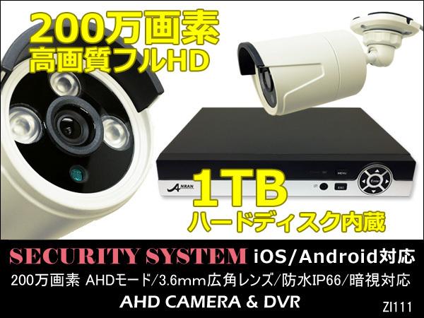 防犯カメラセット 高画質フルHD 200万画素 DVR 1TBハードディスク内蔵 Ipad iPhone対応 カメラ1台付き/20_画像1
