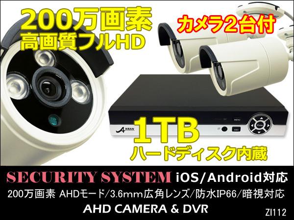 防犯カメラセット 高画質フルHD 200万画素 DVR 1TBハードディスク内蔵 Ipad iPhone対応 カメラ2台付き/14_画像1