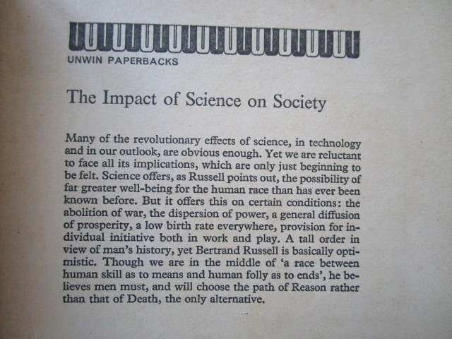 """""""The Impact of Science on Society"""" by Bertrand Russel - 洋書ペーパーバック_画像2"""