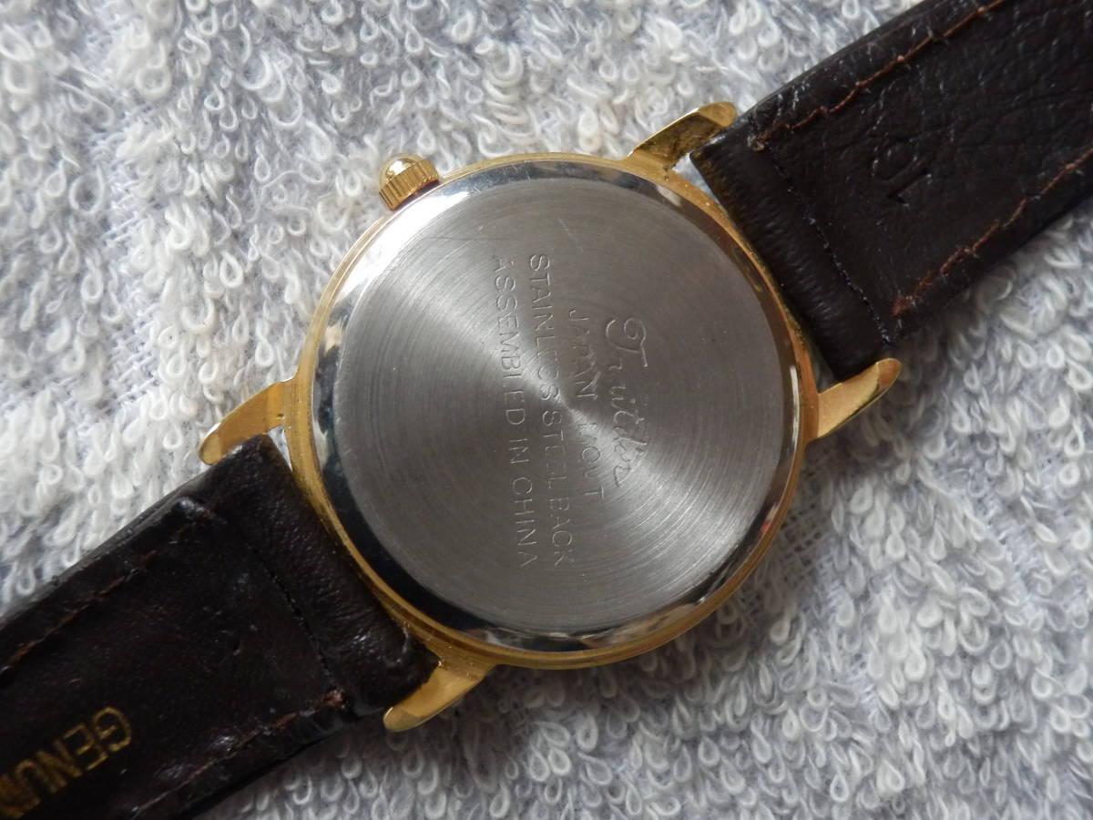 079 1 Trait d'or 金文字盤 使用少 電池交換済メンズ動品_画像5