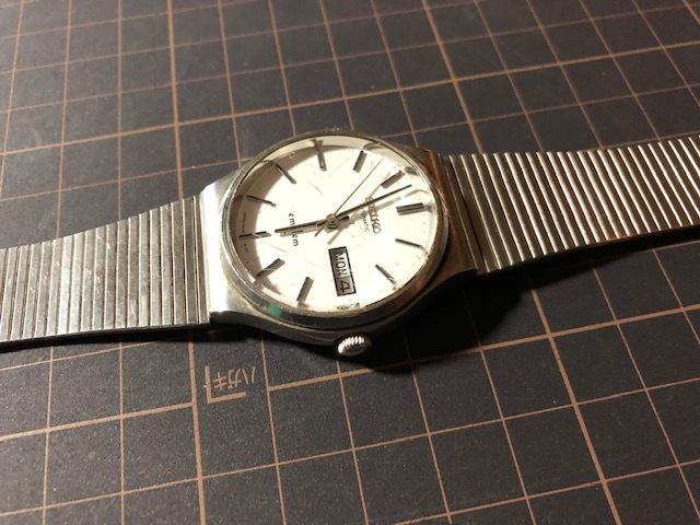 KK111 稀少 レア ヴィンテージ SEIKO/セイコー emblem エンブレム デイデイト AUTO 5606-8080 ホワイト系文字盤 自動巻 メンズ 腕時計_画像4