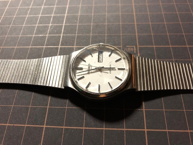 KK111 稀少 レア ヴィンテージ SEIKO/セイコー emblem エンブレム デイデイト AUTO 5606-8080 ホワイト系文字盤 自動巻 メンズ 腕時計_画像5