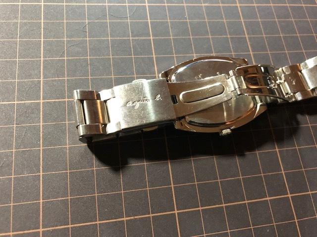 KK113 良品程度 レア agnes.b/アニエスベー デイト パープル文字盤 トノー 純正SSブレス 7N32-0DB0 クオーツ メンズ 腕時計_画像6