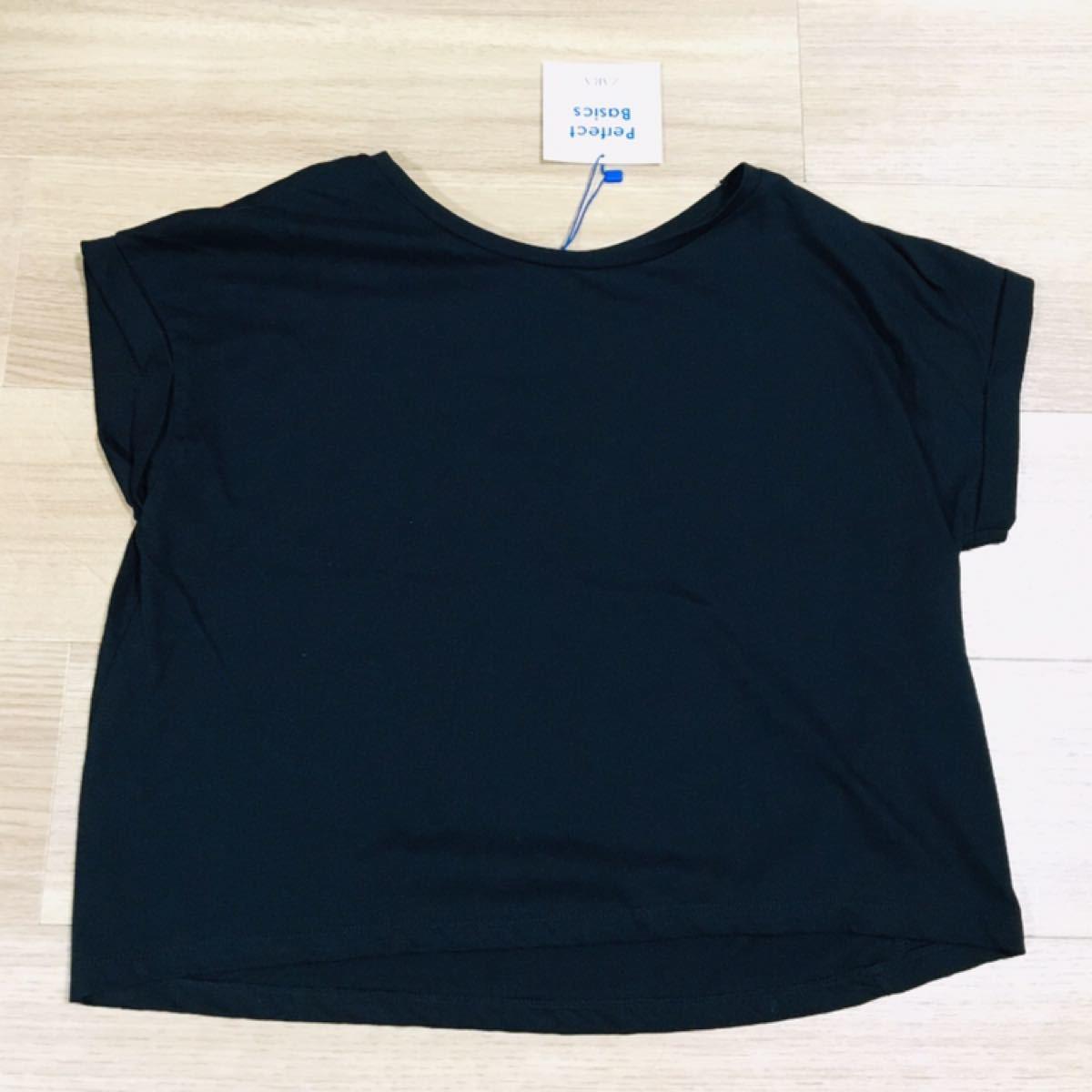 半袖Tシャツ ザラ 黒 シンプル 無地 コットン S