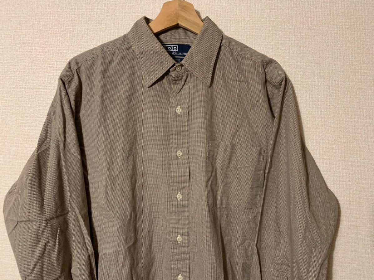 ラルフローレン 千鳥格子 XL ブラウン ハウンドトゥース ボタンダウンシャツ ビンテージラルフローレン 90'sラルフローレン