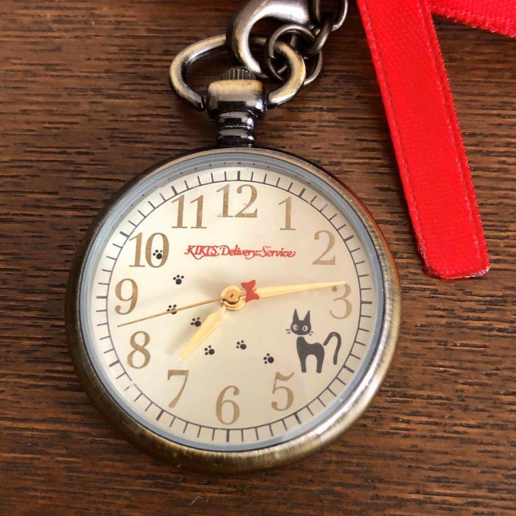 希少 未使用 ジブリ 魔女の宅急便 アンティークペンダントウォッチ ジジ 時計 赤リボン ネックレス 懐中時計 ベネリック_画像3