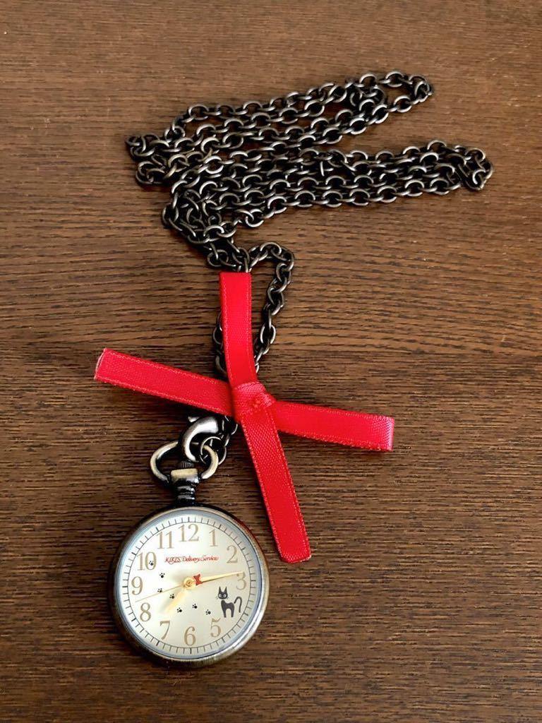 希少 未使用 ジブリ 魔女の宅急便 アンティークペンダントウォッチ ジジ 時計 赤リボン ネックレス 懐中時計 ベネリック_画像10