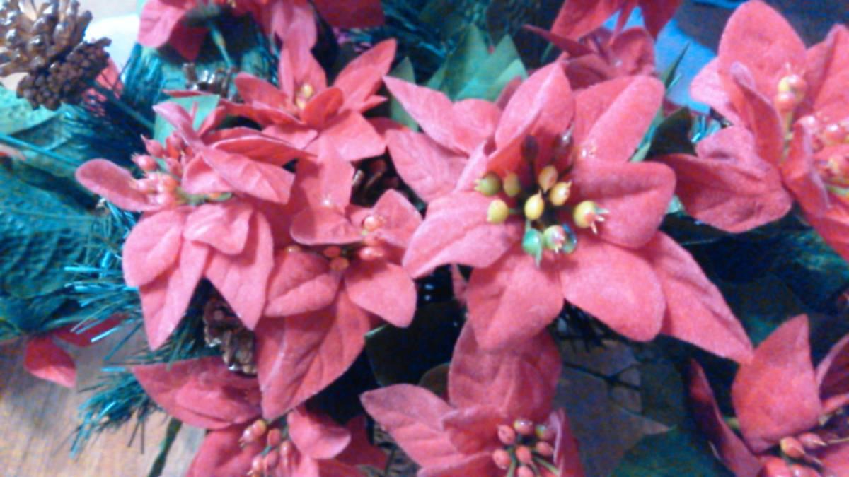 可愛い♪ポインセチア大量クリスマス花飾りフラワーデコ手作りウェディングパーティーDIYハンドメイド結婚式ツリー造花オーナメントリース_可愛い♪アップ☆