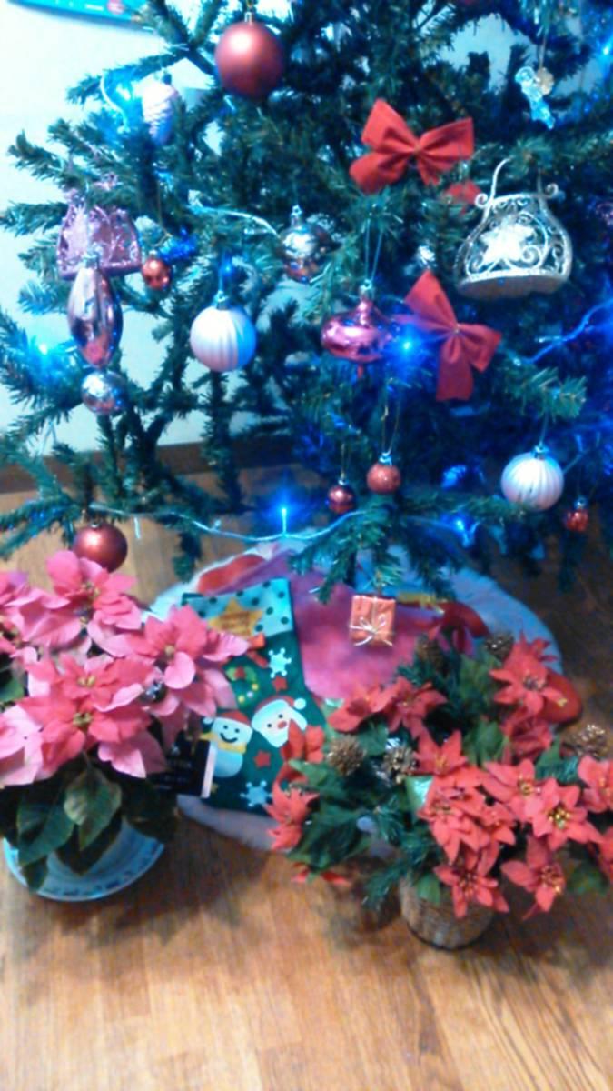 可愛い♪ポインセチア大量クリスマス花飾りフラワーデコ手作りウェディングパーティーDIYハンドメイド結婚式ツリー造花オーナメントリース_比較参考に♪左はプリンセチア(生花)