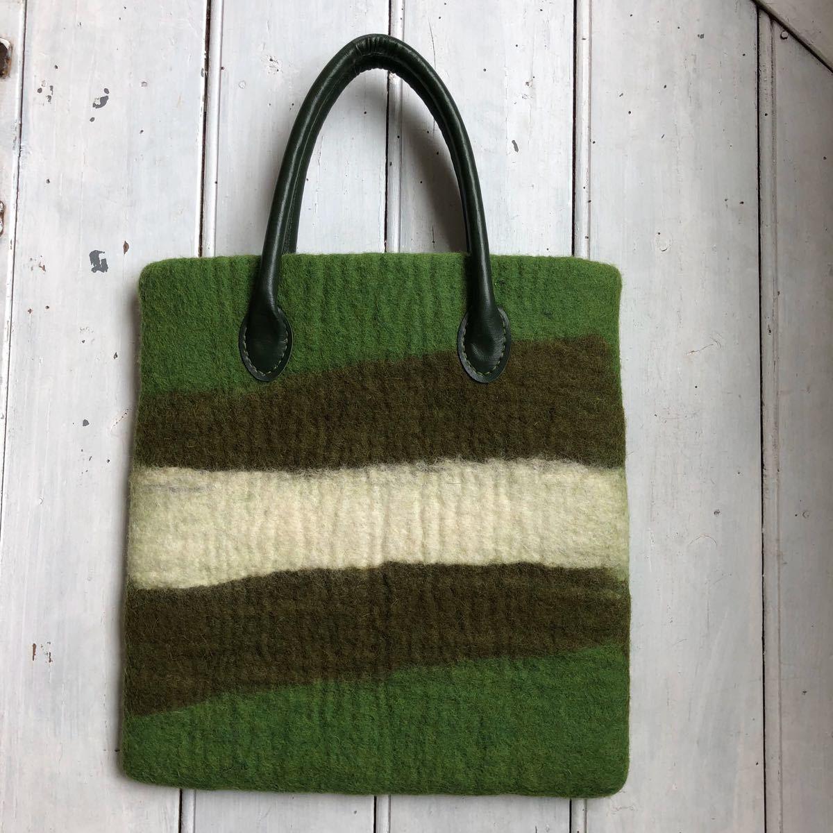 オリジナル 羊毛 フェルトトートバッグ ハンドメイド バッグ 更にお値下げ!