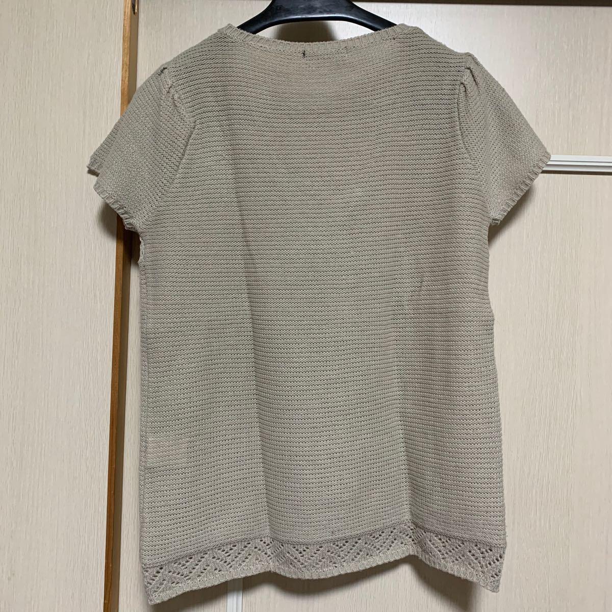 半袖ニット ベスト レース編み ベージュ M