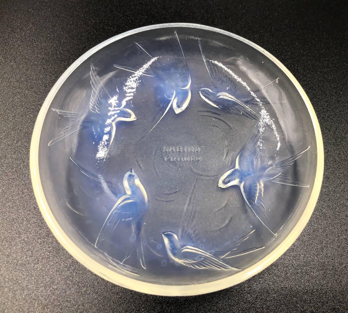希少 SABINO FRANCE サビノ フランス サビーノ オパールセント ガラス 小鳥のプレート アンティーク ヴィンテージ  小皿