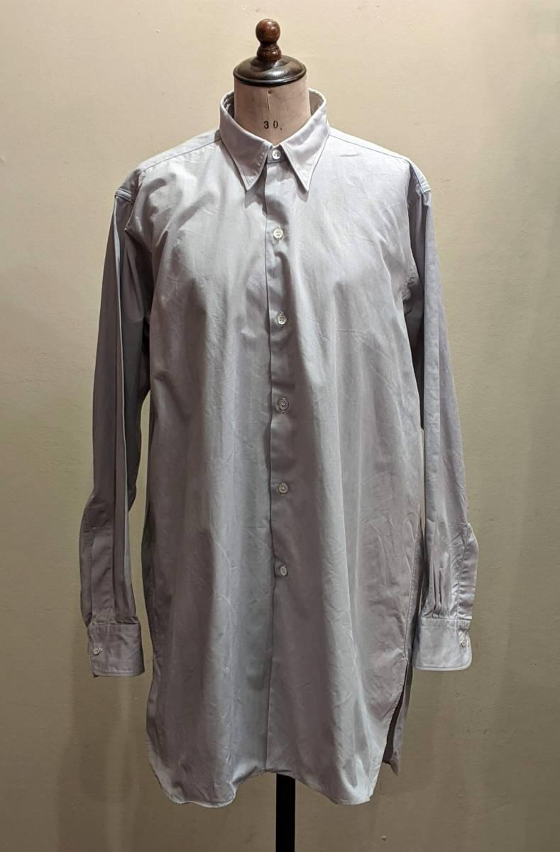 フランスヴィンテージ50's60'コットンシャツ/ヨーロッパフレンチ古着ワークドレス20's30's40'sSWINGロカビリーモッズΓMT_画像2
