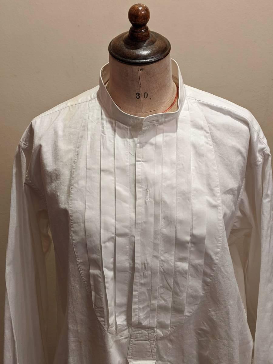 フランスアンティーク00's10's20's襞胸ドレスシャツ/ヴィンテージ30'sフォーマルタキシード燕尾服ヨーロッパフレンチ古着ΓMT_画像1