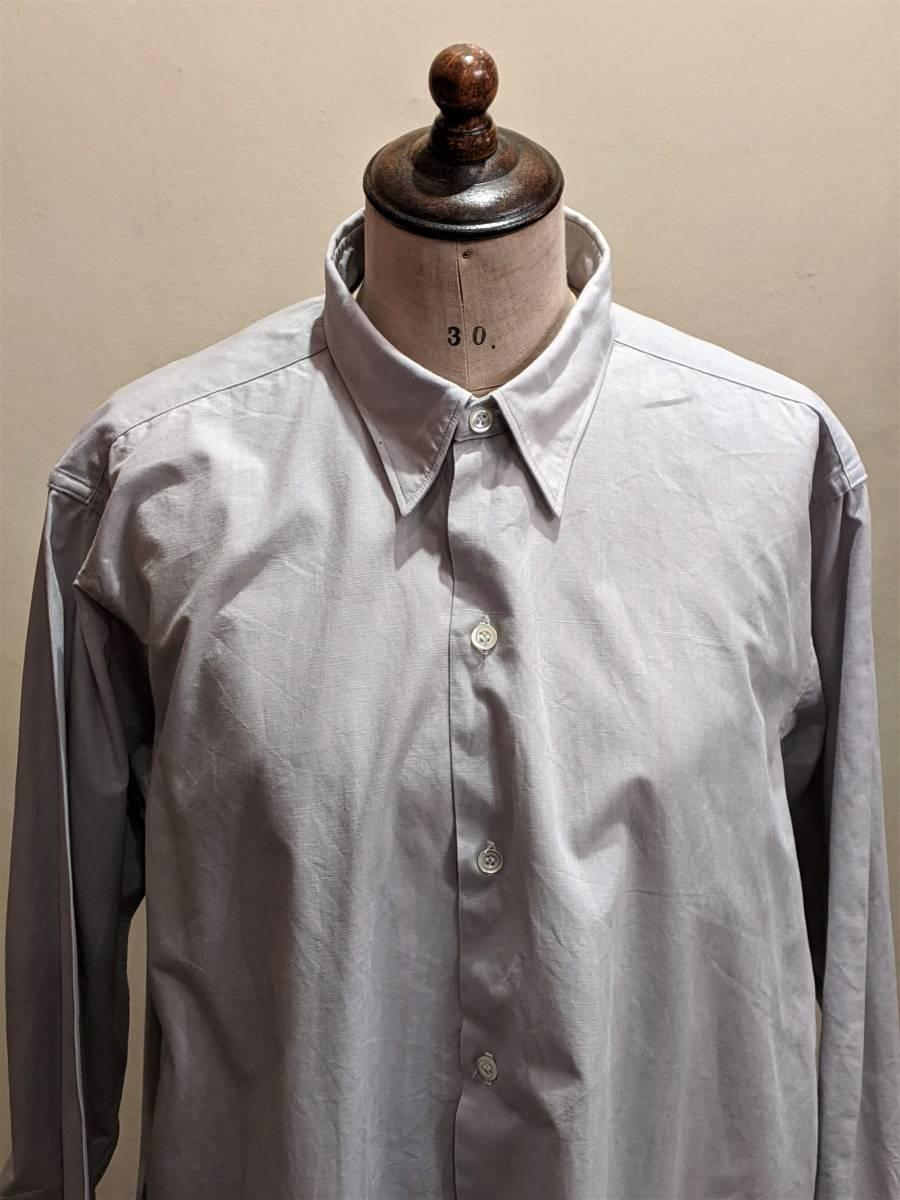 フランスヴィンテージ50's60'コットンシャツ/ヨーロッパフレンチ古着ワークドレス20's30's40'sSWINGロカビリーモッズΓMT_画像1