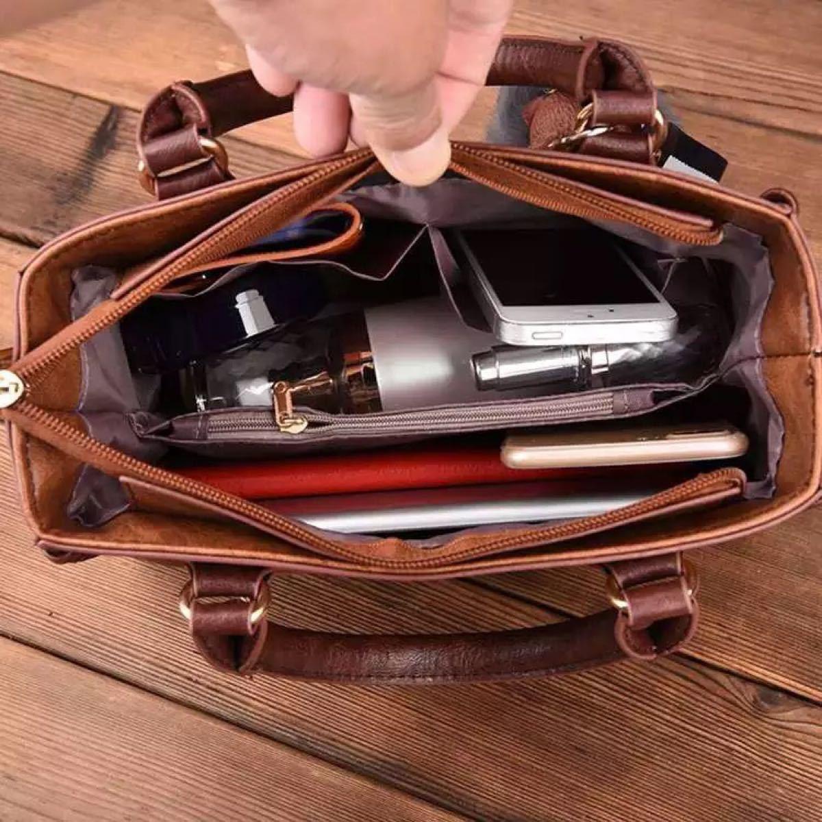 使いやすいハンドバッグ ショルダー付属 レディース ブラック 黒色