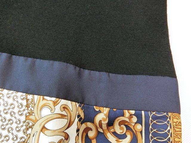 ■自由区大きいサイズ44シルクスカーフプリントコンビニットワンピース紺■_画像3