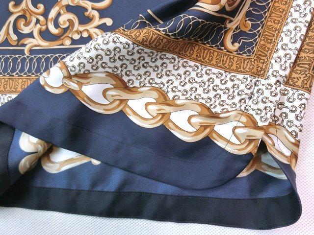 ■自由区大きいサイズ44シルクスカーフプリントコンビニットワンピース紺■_画像4