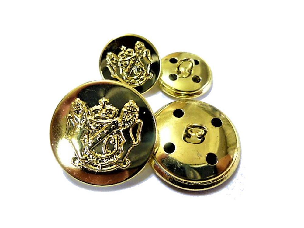 送料無料 手芸 素材 ジャケット用 約21mm 4個 約15mm 8個 ゴ-ルド色 家紋調 メタル 金属 ボタン 12個入り jk003