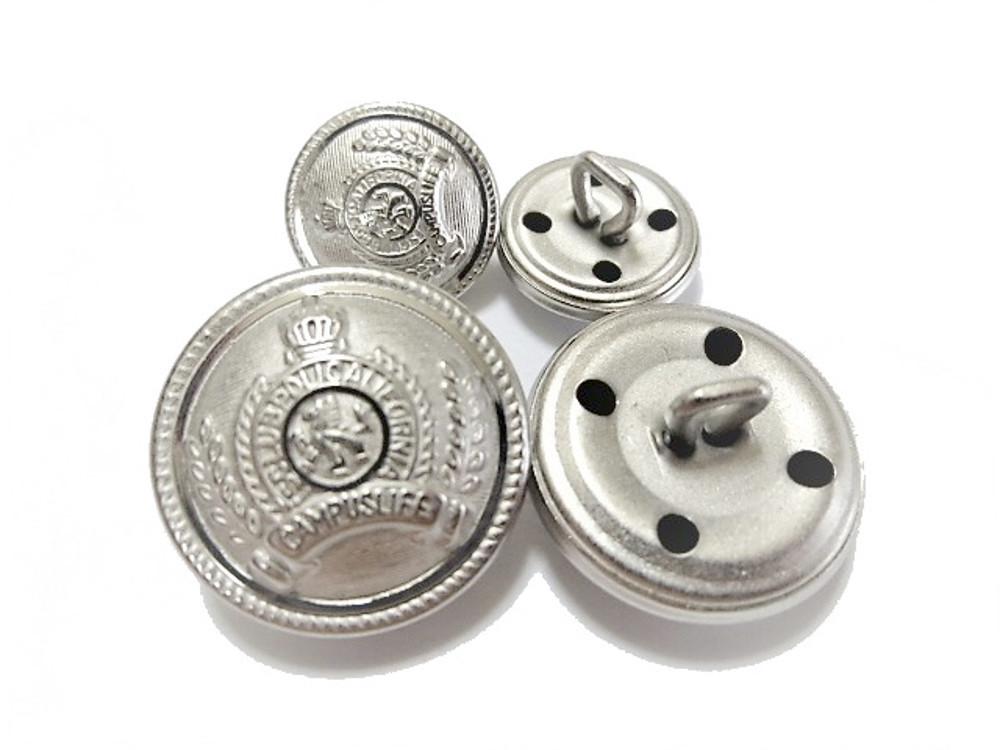 手芸 素材 縫製材料 ジャケット用 約21mm 4個 約15mm 8個 シルバ-色系 家紋調 金属 ボタン 12個入り jk014