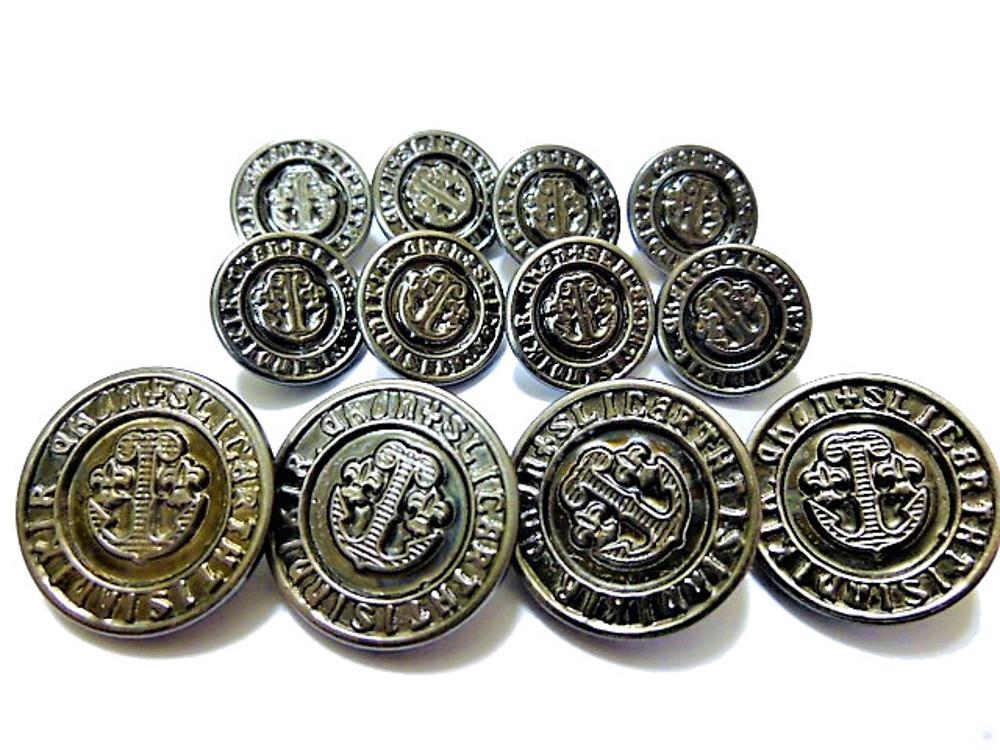 送料無料 手芸 素材 ジャケット用 21mm 4個 15mm 8個 イカリ メタル 金属 ボタン 合計12個入り jk021