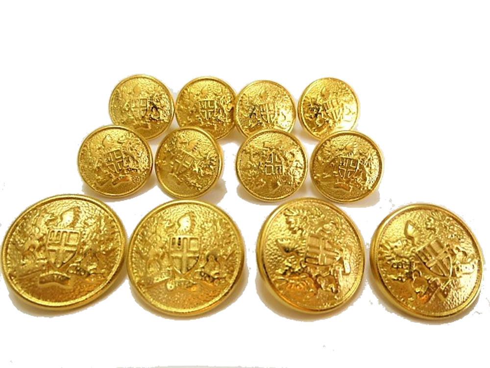 送料無料 手芸 素材 ジャケット用 20mm 4個 15mm 8個 金色 家紋調 メタル 金属 ボタン 合計12個入り jk024
