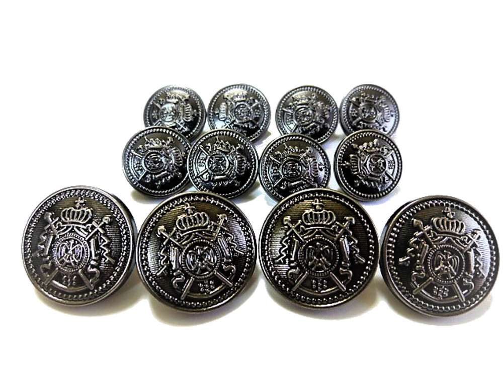 送料無料 手芸 素材 ジャケット用 20mm 4個 15mm 8個 シルバ-色系 家紋調 メタル ABS ボタン 合計12個入り jk047