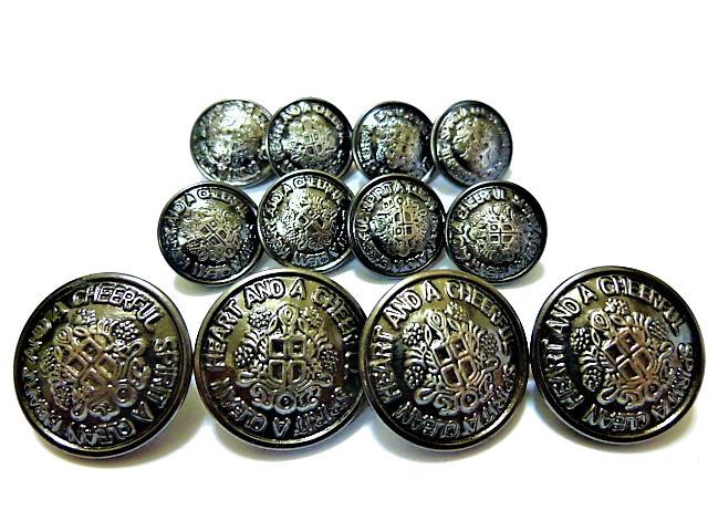 手芸 素材 縫製材料 ジャケット用 約20mm 4個 約15mm 8個 ゴ-ルド色系xブラック色系 家紋調 金属 ボタン 12個入り jk019