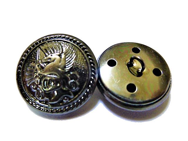 手芸 素材 縫製材料 ジャケット用 約20mm 4個 約15mm 8個 シルバ-色系xブラック色系 家紋調 金属 ボタン 12個入り jk075