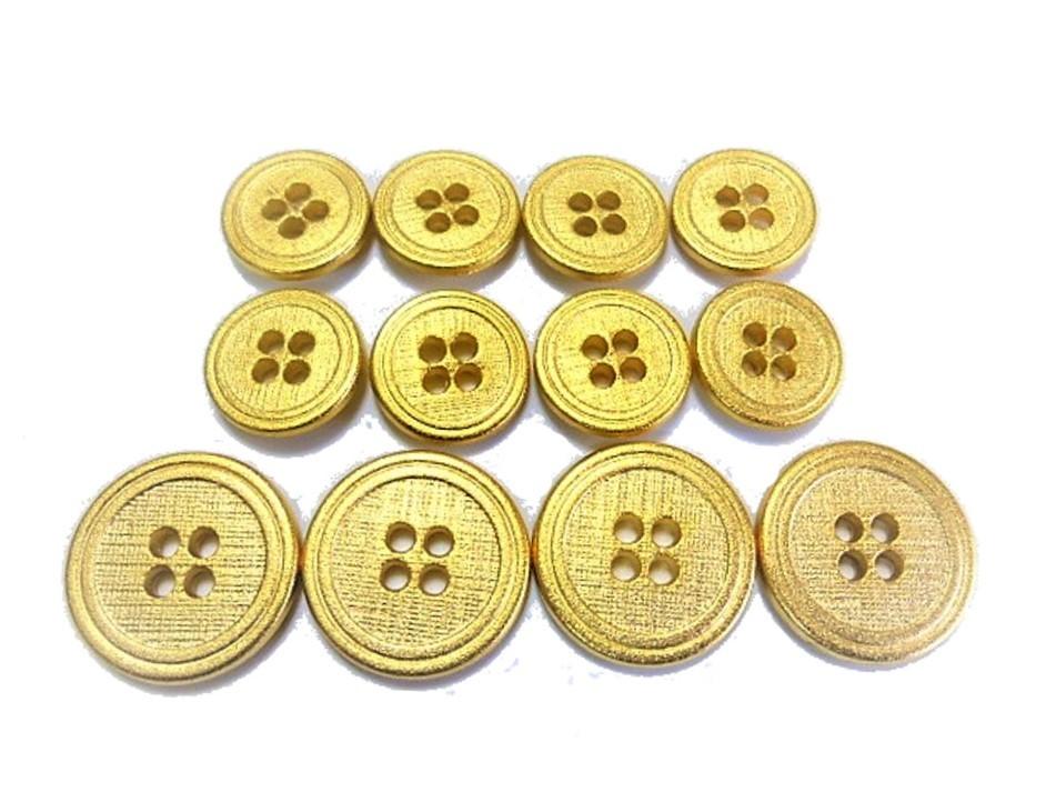 送料無料 手芸 素材 ジャケット用 約20mm 4個 約15mm 8個 艶消し調 ゴ-ルド色系 メタル 金属 ボタン 12個入り jk089