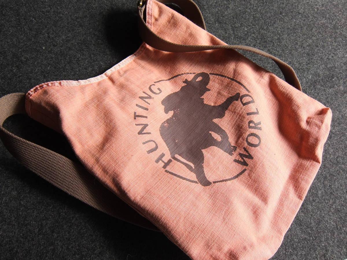 美品 HUNTING WORLD ハンティング・ワールド 限定ボルネオ ショルダーバッグ 象 迷彩 ピンク リバーシブル カモ柄