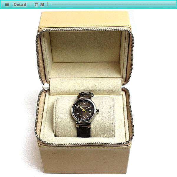 Louis Vuitton ルイヴィトン タンブール レディース腕時計 クォーツ Q1211 ブラウン文字盤×シルバー レディース アンティーク_画像4