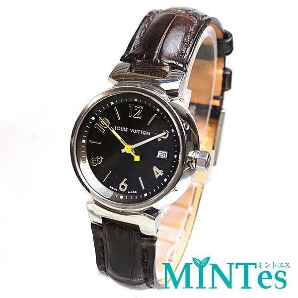 Louis Vuitton ルイヴィトン タンブール レディース腕時計 クォーツ Q1211 ブラウン文字盤×シルバー レディース アンティーク_画像1