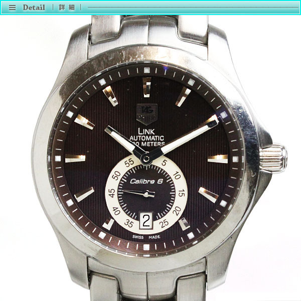 TAG Heuer タグホイヤー リンク キャリバー6 メンズ腕時計 オートマチック WJF211C 茶文字盤×シルバー メンズ スケルトン_画像2