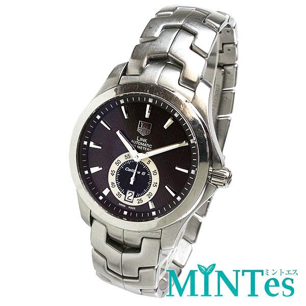TAG Heuer タグホイヤー リンク キャリバー6 メンズ腕時計 オートマチック WJF211C 茶文字盤×シルバー メンズ スケルトン_画像1