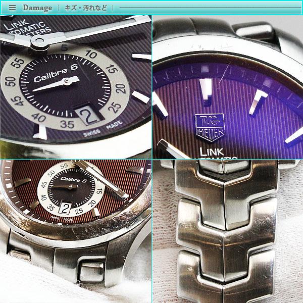 TAG Heuer タグホイヤー リンク キャリバー6 メンズ腕時計 オートマチック WJF211C 茶文字盤×シルバー メンズ スケルトン_画像5