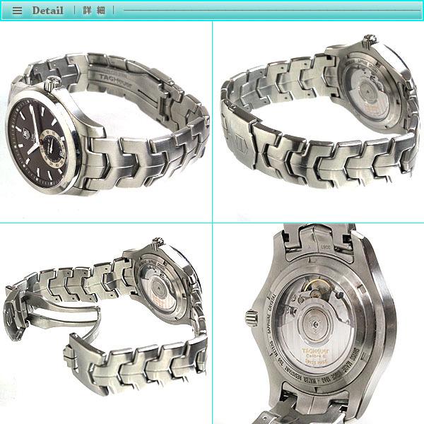 TAG Heuer タグホイヤー リンク キャリバー6 メンズ腕時計 オートマチック WJF211C 茶文字盤×シルバー メンズ スケルトン_画像3