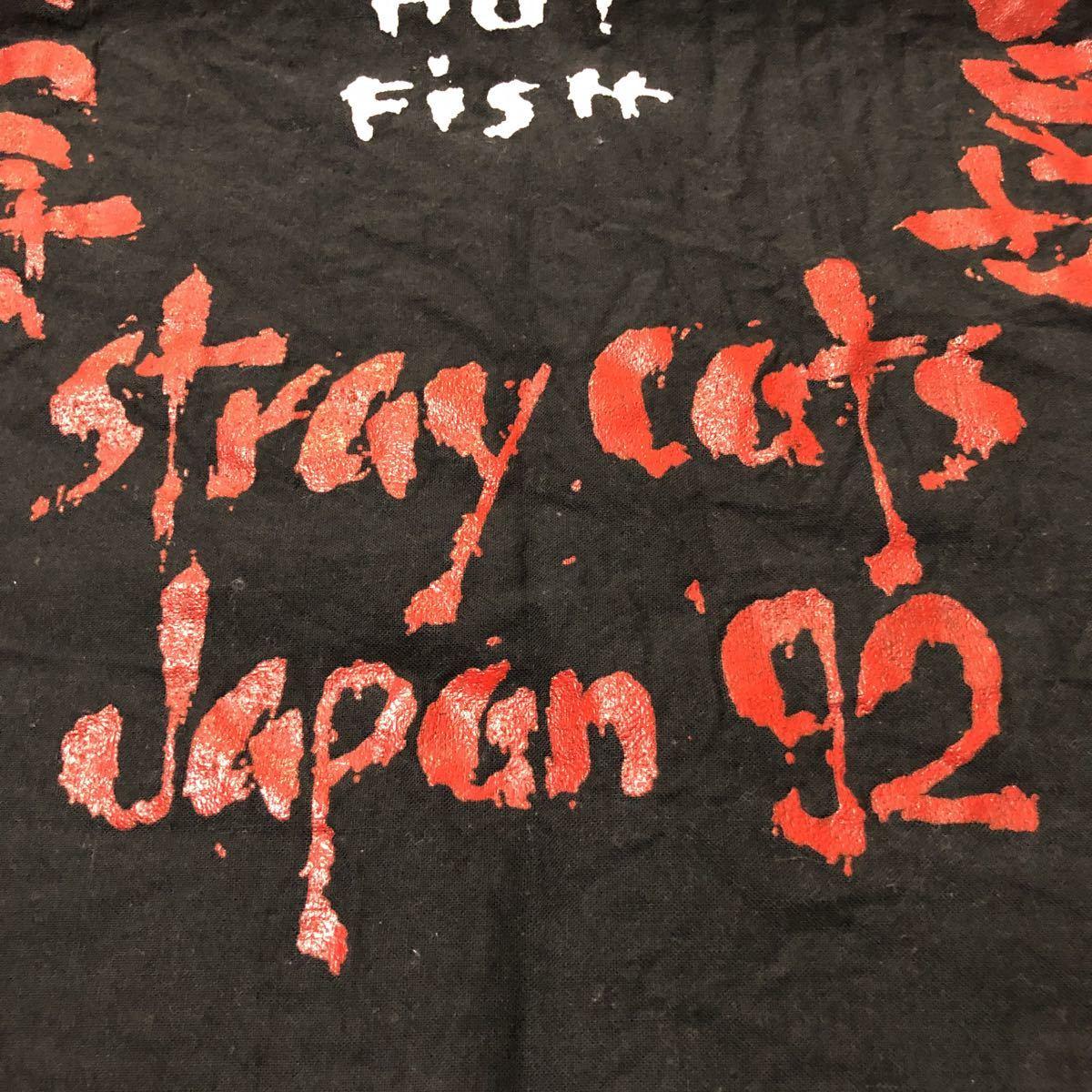 激レア 希少 ストレイキャッツ stray cats 92年 バンダナ choo choo HOT Fish チューチューホットフィッシュ ロカビリー バンド ツアー 黒_画像7