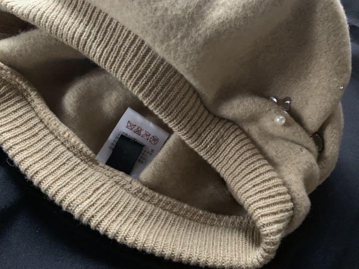 日本製【アンテプリマ】煌めきビジュ付き可愛いウールベレー帽 ベージュ_画像5