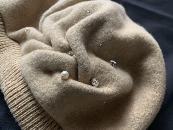 日本製【アンテプリマ】煌めきビジュ付き可愛いウールベレー帽 ベージュ_画像4
