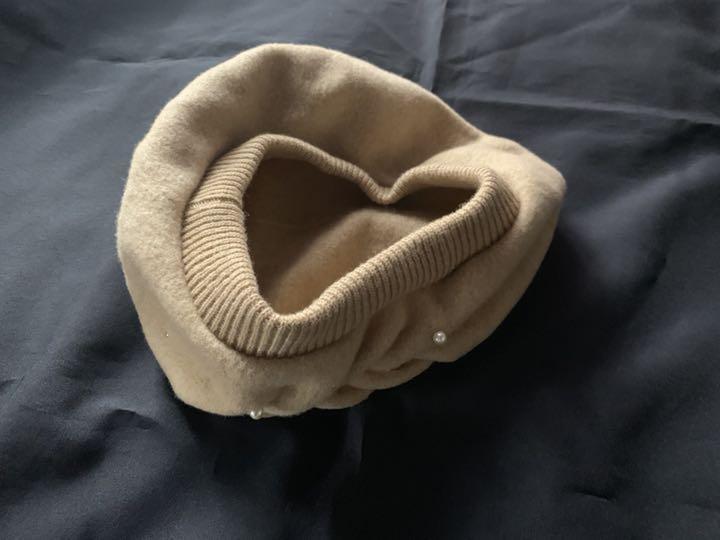 日本製【アンテプリマ】煌めきビジュ付き可愛いウールベレー帽 ベージュ_画像2