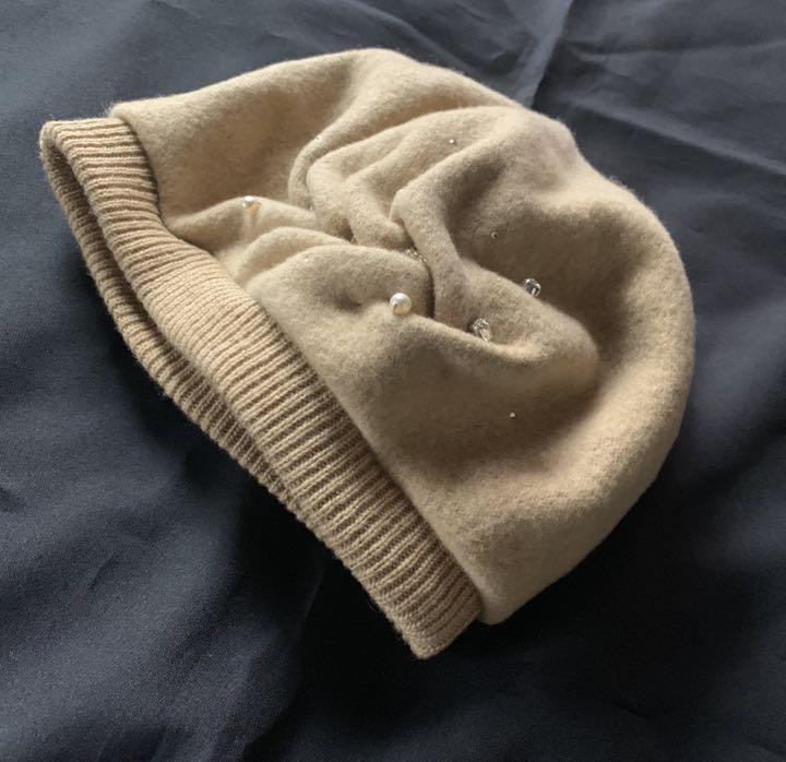 日本製【アンテプリマ】煌めきビジュ付き可愛いウールベレー帽 ベージュ_画像1