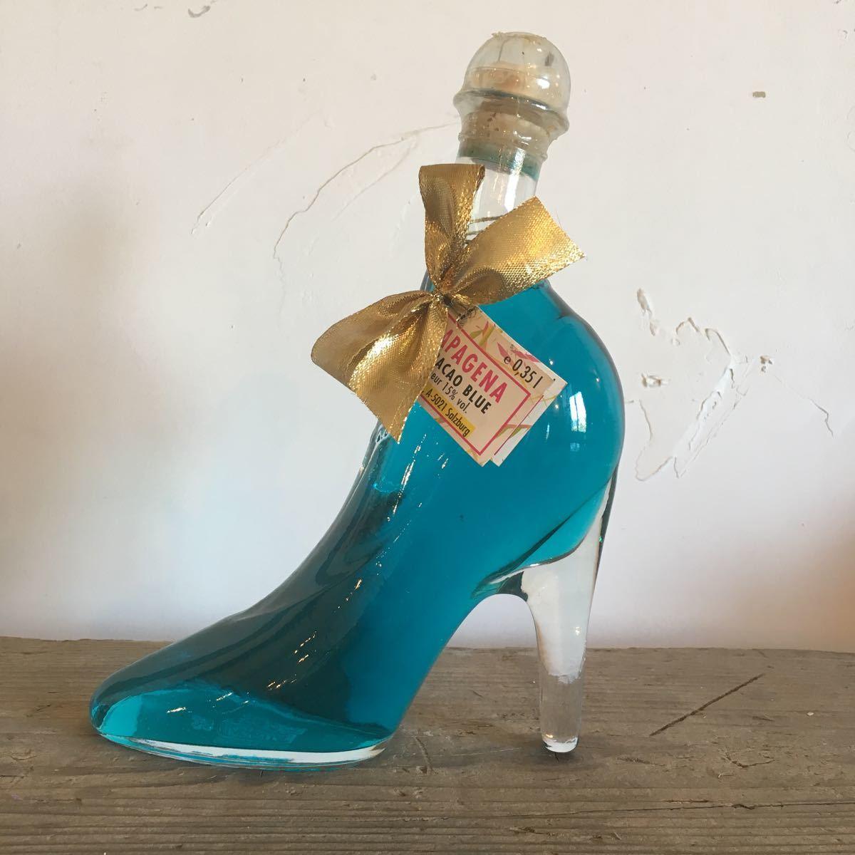 未開封 ブルーキュラソー リキュール 350ml PAPAGENA パパゲーナ オーストリア ガラス製 ピンヒール型 911w 古酒 オブジェ ハイヒール_画像1