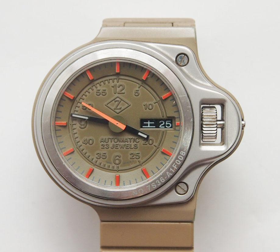 CABANE de ZUCCA 腕時計 Seiko セイコー 7S36-0250 ダッシュボード カーキ 自動巻 稼働品