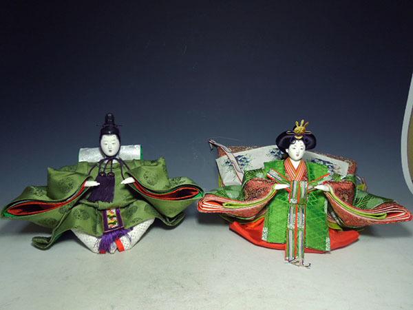 【良】 京都きく一流家元 瑠璃子作 ?#26032;殻?#20869;裏雛 京雛 嵯峨 台付 共箱 ◆ 日本人形 伝統工芸 雛人形 雛道具