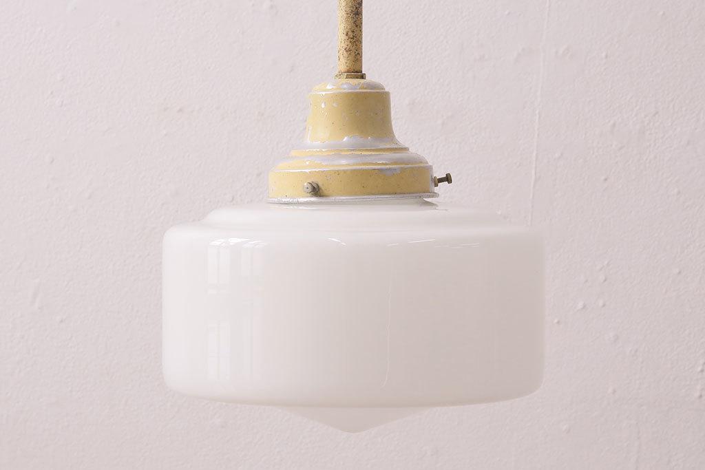 R-049144 アンティーク照明 昭和レトロ イエローペイントがレトロなペンダントライト(天井照明、吊り下げ照明)(R-049144)_画像1