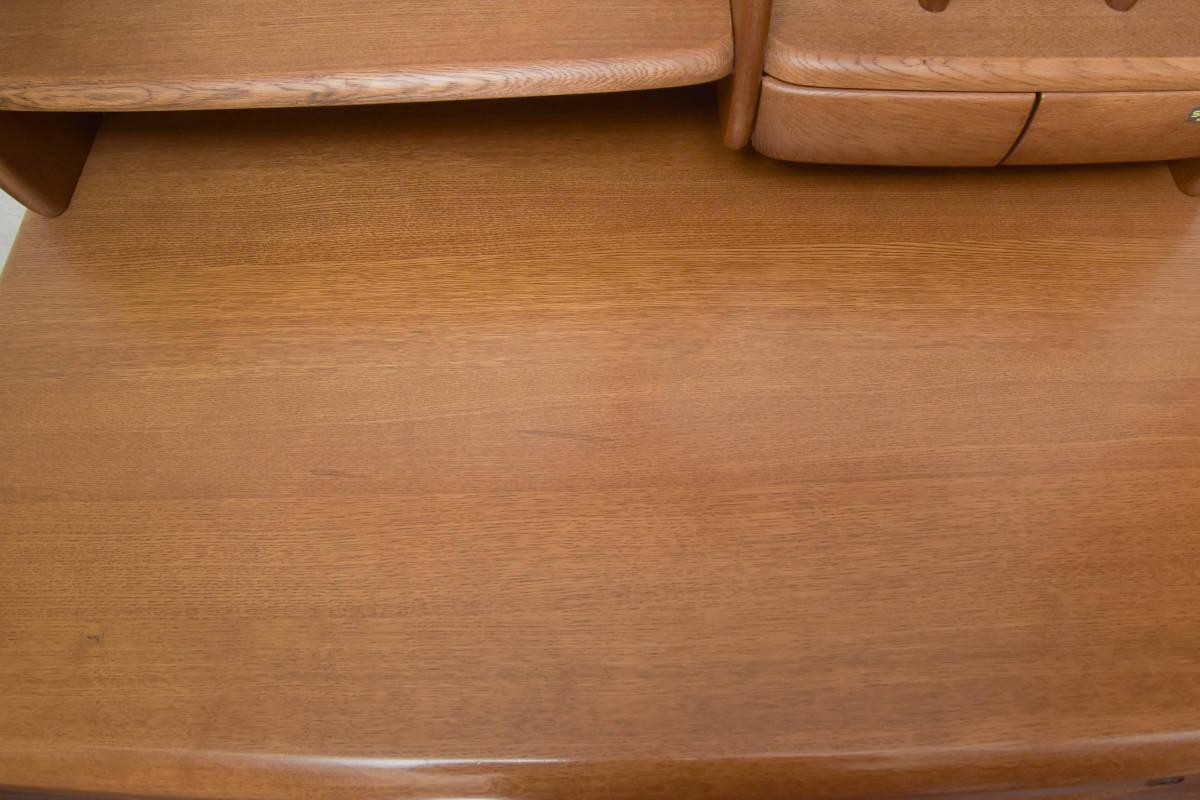美品 ヒカリサンデスク/色ブラウン 高級学習机 ナラ天然木 国産 +シェルフ+ワゴン+スタンド+椅子_画像3