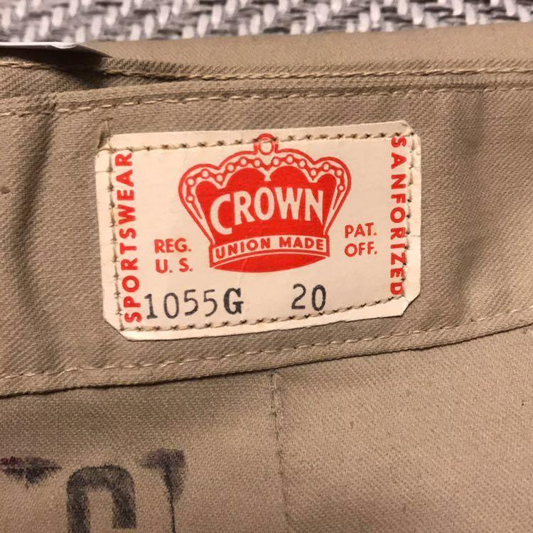 50s 50年代 CROWN クラウン ワークパンツ チノ ランチパンツ dead stock デッドストック VINTAGE ビンテージ 囚人 プリズナー_画像2