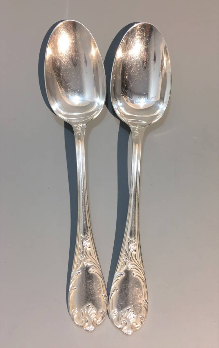 ★☆クリストフル マルリー テーブルスプーン 2本セット 銀食器 カトラリー フランス アンティーク ヴィンテージ Christofl☆★