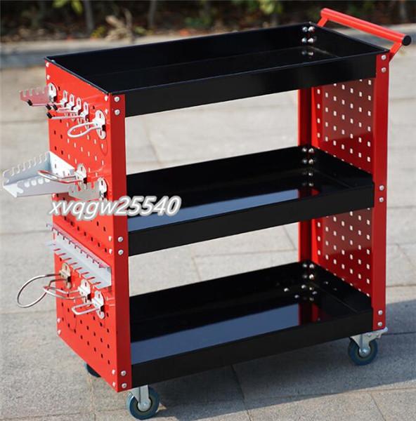 ★高品質★自動車修理用具車 多機能 修理ラック 作業台 移動可能 三層トロリー ハードウェアパーツボックス PRC25